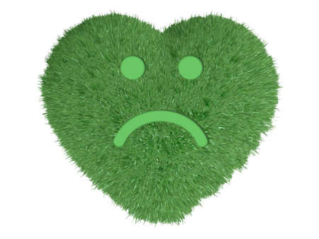 delusion: heart made with green grass and a sad smile over him, 3d illustration Stock Photo