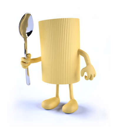 concentrating: macaroni pasta with arms, legs and spoon on hand, 3d illustration Stock Photo