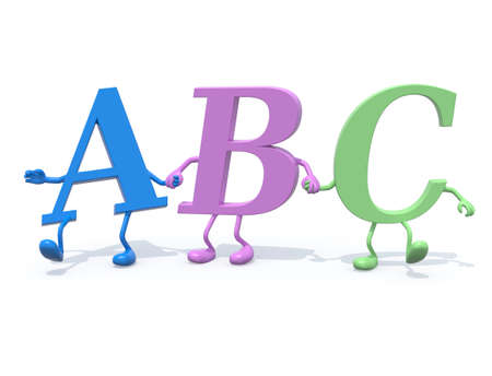 3d letters ABC with arms and legs that walk hand in hand, 3d illustration