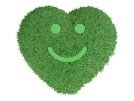 passion ecology: heart made with green grass and a smile over him, 3d illustration