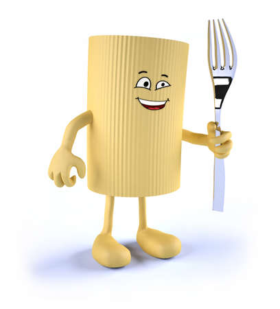 macaroni: macaroni pasta with face, arms, legs and fork on hand, 3d illustration