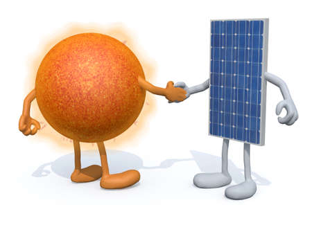 happy business team: a the sun and the solar panel with arms and legs shake hands, 3d illustration Stock Photo