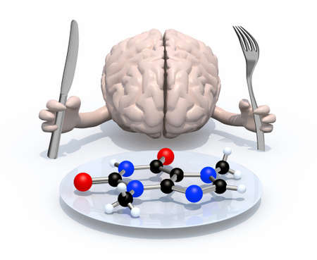 Human brain with arms and cutlery in hand, in front of a plate with the molecular food