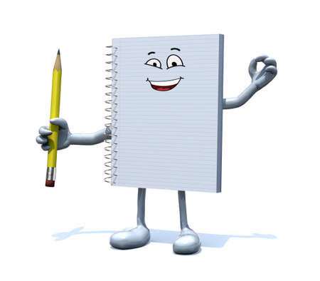 note pad: blank spiral notepad with face, arms, legs and a pencil on hand, 3d illustration