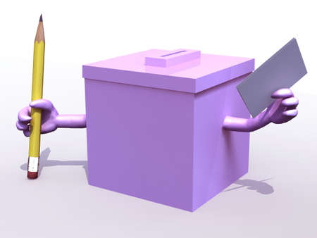 thoughts: Pink ballot box whit arms and envelope paper on hands, 3d illustration