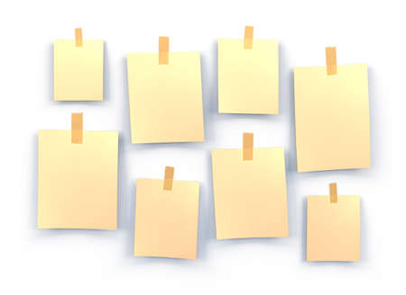 sticky notes: yellow sticky notes isolated on white background, 3d illustration