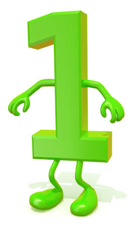 arithmetic: number 1 with arms and legs posing, isolated on white 3d illustration Stock Photo