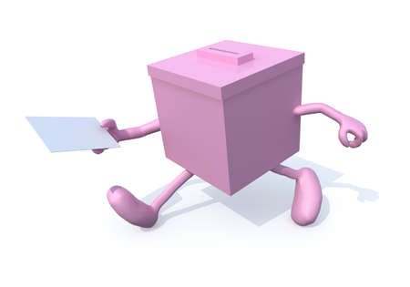 thoughts: Pink ballot box whit arms, legs and envelope paper on hands, 3d illustration