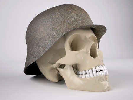 military helmet: skull in military helmet, 3d illustration Stock Photo