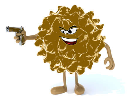 bacteriological: virus with arms, legs, face and gun on hand, 3d illustration