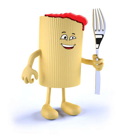 pasta fork: macaroni pasta with face, arms, legs and fork on hand, 3d illustration