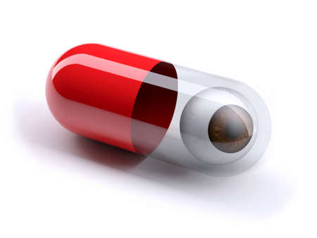 eye ball: red pill filled with brown eye ball, isolated 3d illustration