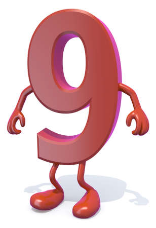 primer: number 9 with arms and legs posing, isolated on white 3d illustration