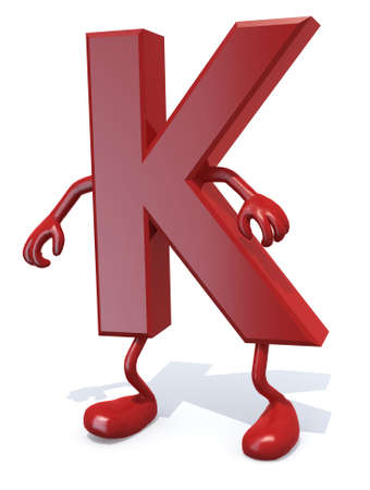 letter K with arms and legs posing, isolated on white 3d illustration