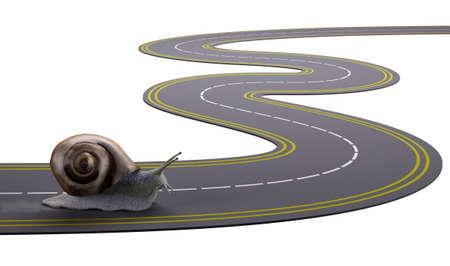 chofer: caracol de viaje en un camino poco a poco, ilustración 3d