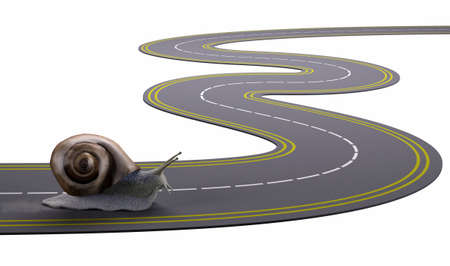 slow: snail traveling a road slowly, 3d illustration