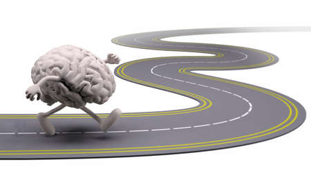 job icon: human brain that runs in the street, 3d illustration