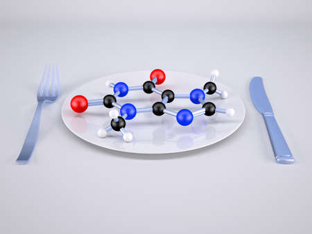 plate with molecule inside him, 3d illustration Stock Photo