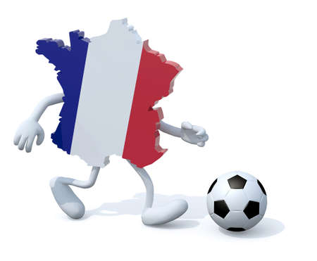 uefa: french map with arms, legs running with a football, 3d illustration Stock Photo