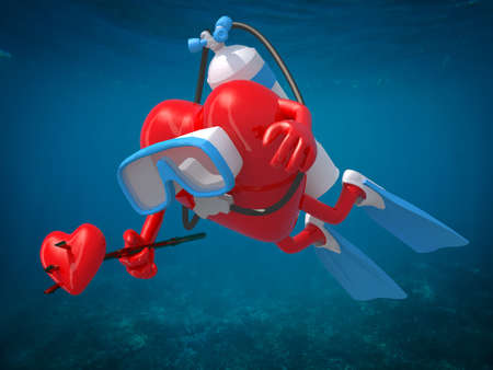 heart with diving goggles, flippers and trident, 3d illustration Stock Photo