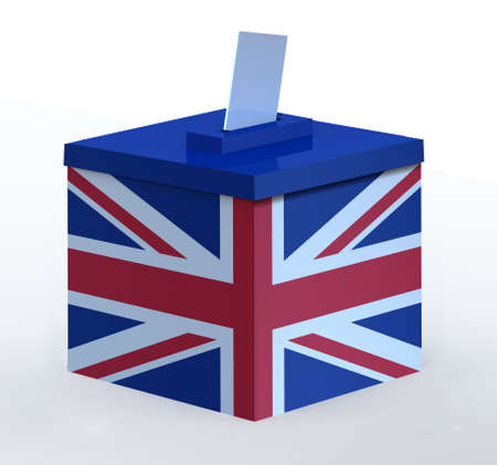 england politics: Ballot Box with British flag, 3d illustration Stock Photo