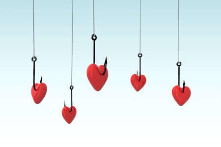 many fishing hook and hearts, 3d illustration