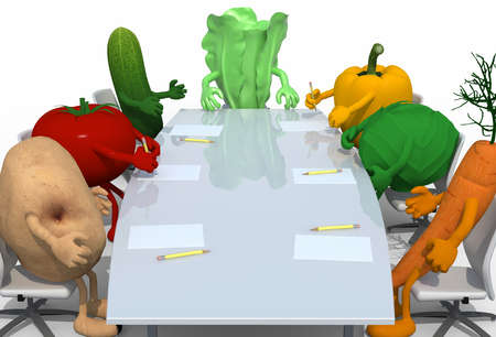potato leaves: many vegetables meeting around the table and follow their boss, 3d illustration Stock Photo