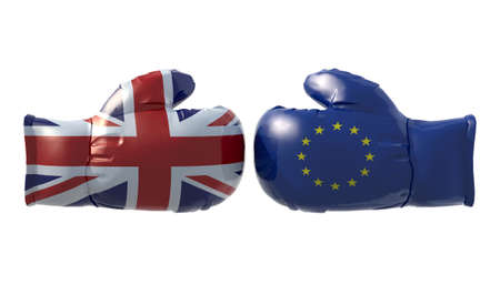domination: Boxing gloves with UK and Euro flag, isolated 3d illustration Stock Photo