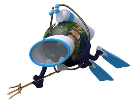 subaqueous: Planet earth with diving goggles and flippers, 3d illustration.