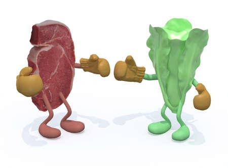 vlees versus sla, carnivoor vs veganistische concepten, 3d illustratie Stockfoto