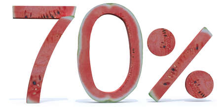 compilation: 70 percent written made with watermelon, 3d illustration