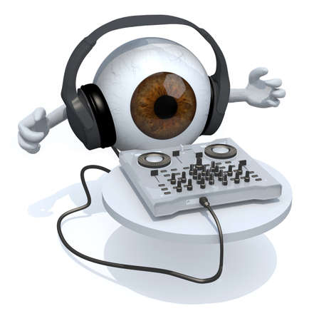Brown Eyeball with dj headset in front of consolle, 3d illustration Stock Photo