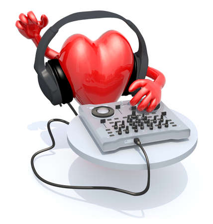 big heart with dj headset in front of consolle, 3d illustration