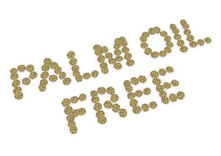 salud publica: aceite de palma escrita gratuita con galletas, ilustración 3d
