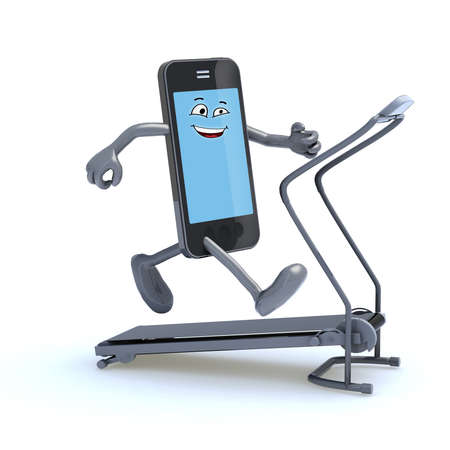 smartphone with arms and legs on a running machine, 3d illustration Stock Photo