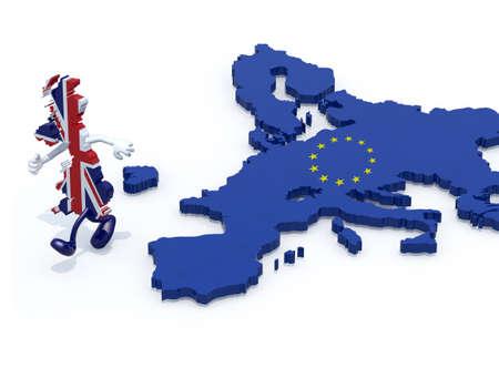 kaart van het Verenigd Koninkrijk met armen en benen die weg uit Europa loopt, 3d illustratie