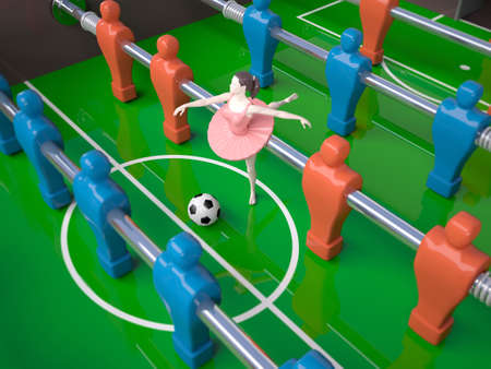 foosball table with red and blue players and a dancer girl female sports concepts, 3d illustration Stock Photo