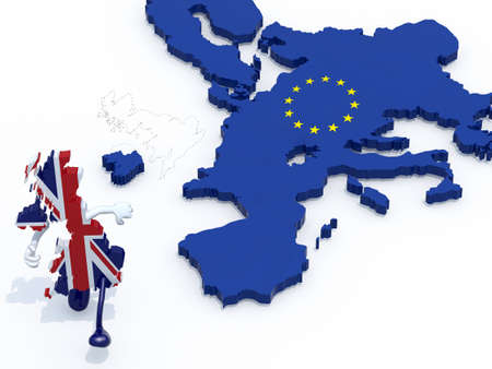 seperated: map of United Kingdom with arms and legs that runs away from Europe, 3d illustration Stock Photo
