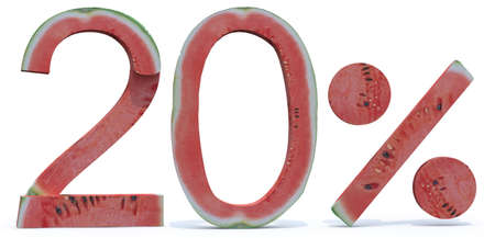 20 percent written made with watermelon, 3d illustration Stock Photo