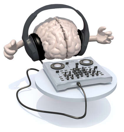 Brain with dj headset in front of consolle, 3d illustration