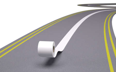 papel higienico: papel higiénico que se convierte en la línea en el medio de la carretera, ilustración 3d Foto de archivo