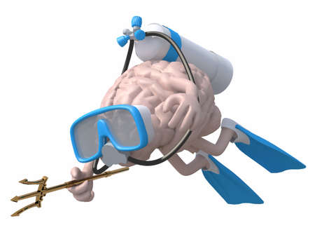 Human brain with diving goggles and flippers, 3d illustration