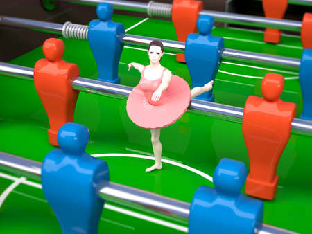 sports girl: foosball table with red and blue players and a dancer girl female sports concepts, 3d illustration Stock Photo