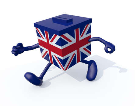 constituent: Ballot Box with British flag and arms and legs, 3d illustration Stock Photo
