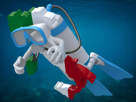 subaqueous: Map of Italy with diving goggles and flippers, 3d illustration.