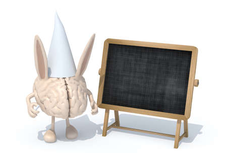 dunce cap: human brain with ears Dunce and hat in front of a blackboard, 3d illustration Stock Photo