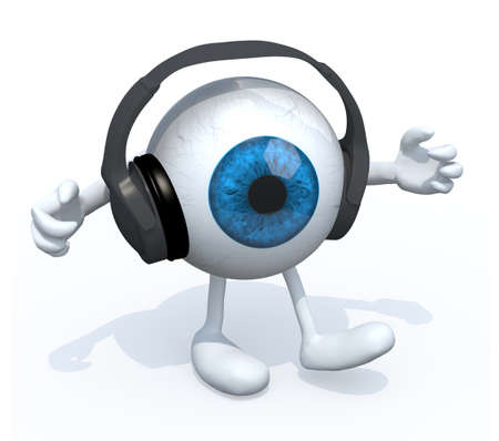 pair of headphones on a big eyeball with arms and legs, 3d illustration