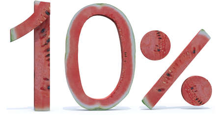 compilation: 10 percent written made with watermelon, 3d illustration