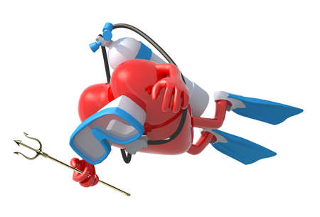 deep: heart with diving goggles and flippers, 3d illustration