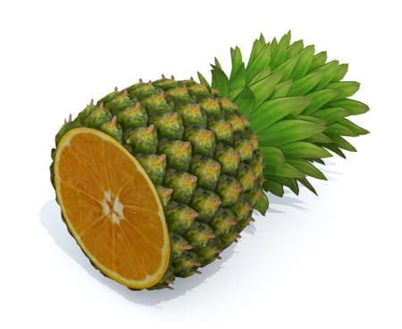 rich in vitamins: pineapple with orange inside, 3d illustration